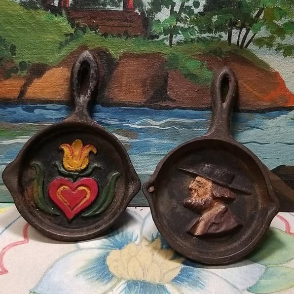 2 Vintage Cast Iron metal ashtrays